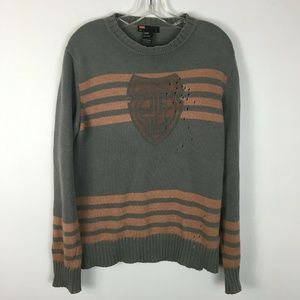 Diesel Men's Logo Pullover Hole Accent Sweater